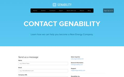 Screenshot of Contact Page genability.com - Contact - Genability: Making a cleaner, more elastic energy grid - captured June 16, 2015
