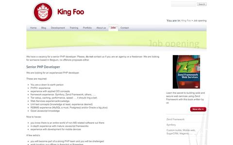 Screenshot of Jobs Page king-foo.be - Job opening   King Foo web development - captured Sept. 30, 2014