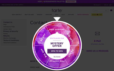 Screenshot of Contact Page tartecosmetics.com - Contact Tarte - captured May 22, 2019