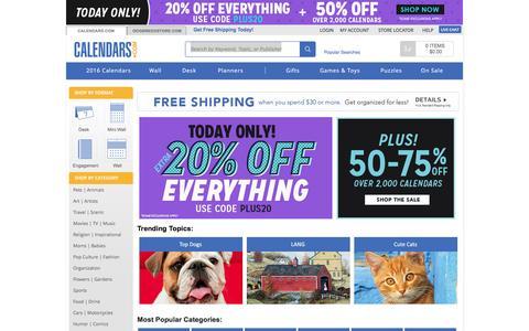 Screenshot of Home Page calendars.com - 2016 Calendar / Wall Desk Calendars | Buy Calendars Online | Calendars.com - captured Jan. 24, 2016