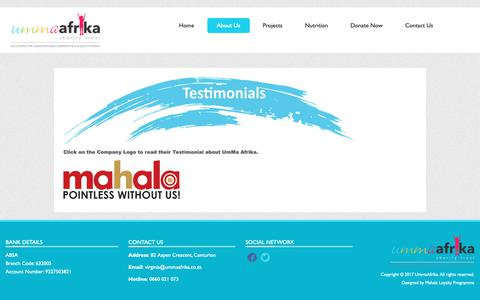 Screenshot of Testimonials Page ummaafrika.co.za - Testimonials - captured Oct. 1, 2018