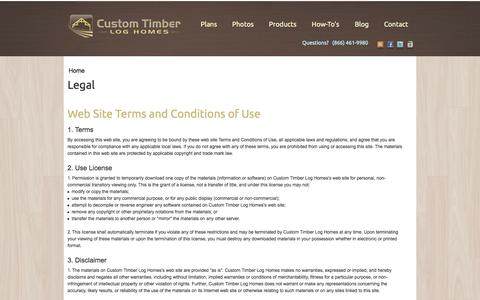 Screenshot of Terms Page customtimberloghomes.com - Legal | Custom Timber Log Homes - captured Oct. 10, 2014