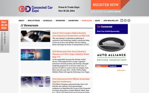 Screenshot of Press Page connectedcarexpo.com - Newsroom - Connected Car Expo - captured Sept. 30, 2014