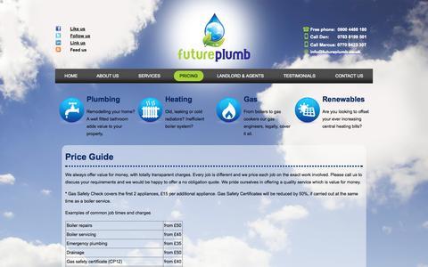 Screenshot of Pricing Page futureplumb.co.uk - Price Guide - Futureplumb - captured Nov. 3, 2014