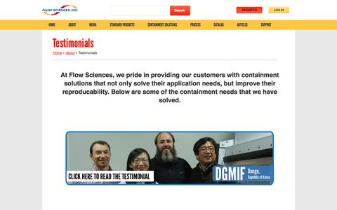 Screenshot of Testimonials Page flowsciences.com - Testimonials | Flow Sciences - captured Oct. 6, 2014