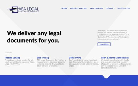 Screenshot of Home Page abalegal.com.au - ABA Legal Document Services Sunshine Coast Brisbane QLD - captured Oct. 6, 2017