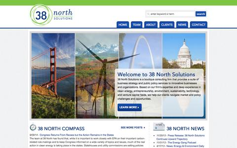 Screenshot of Home Page 38northsolutions.com - Public policy in clean energy technology and innovative enterprises | 38 North Solutions - captured Oct. 7, 2014