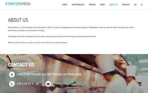 Screenshot of About Page startersmenu.nl - About us - StartersMenu - captured Dec. 11, 2016