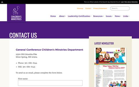 Screenshot of Contact Page adventist.org - GC Children's Ministry | Contact Us - captured April 8, 2017