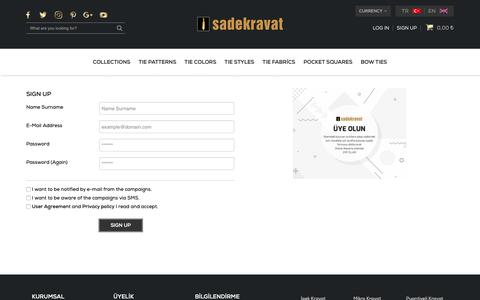 Screenshot of Signup Page sadekravat.com - En Yeni Kravatlar Tüm Kravat Modelleri ve Papyon - Sade Kravat - captured Oct. 1, 2018