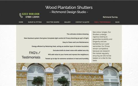 Screenshot of FAQ Page richmondshutters.com - Faqs and Testimonials | Richmond Shutters - captured Nov. 16, 2017