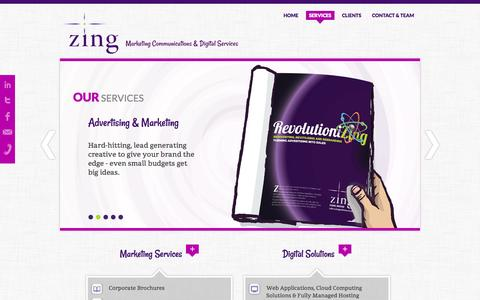 Screenshot of Services Page zingcomms.co.uk - Zing Marketing Communications & Digital Services - Services - captured Oct. 27, 2014