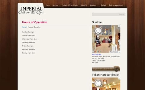 Screenshot of Hours Page imperialsalonandspa.com - Hours of Operation - captured Oct. 6, 2014