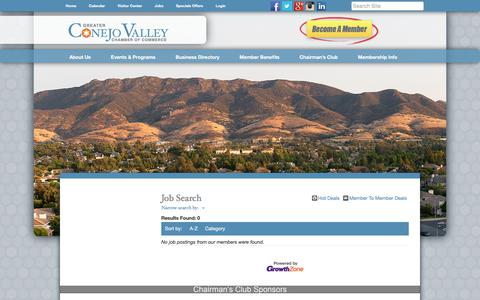 Screenshot of Jobs Page conejochamber.org - Job Search - Greater Conejo Valley Chamber of Commerce,CA - captured Sept. 10, 2017