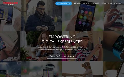 Screenshot of Home Page origamistudios.us - Mobile & Web App Development Company | Origami Studios - captured Oct. 19, 2018