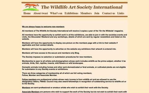 Screenshot of Signup Page twasi.com - The Wildlife Art Society International twasi join - captured May 23, 2016