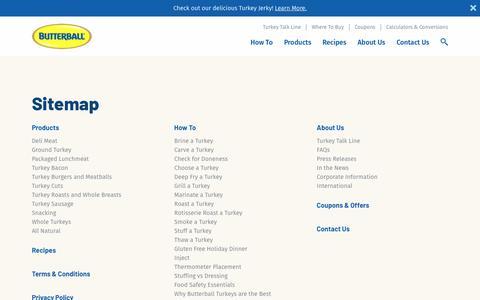 Screenshot of Site Map Page butterball.com - Sitemap | Butterball® - captured Sept. 26, 2018