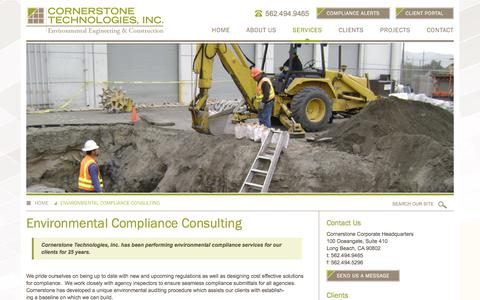 Screenshot of Services Page ctigreen.com - Environmental Compliance Consulting | Cornerstone Technologies, Inc - captured Sept. 26, 2018
