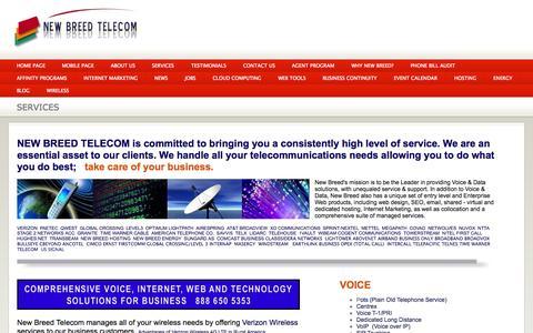 Screenshot of Services Page newbreedtelecom.com - Services - captured Oct. 7, 2014