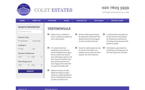 Screenshot of Testimonials Page coletestates.com - Testimonials | Colet Estates - captured July 20, 2018