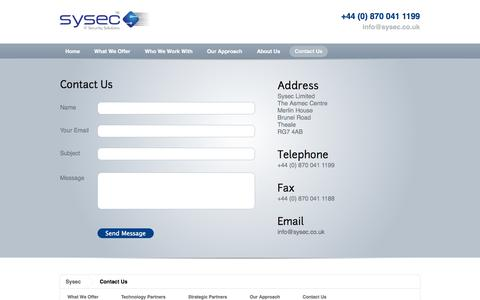 Screenshot of Contact Page sysec.co.uk - Sysec - captured Oct. 7, 2014
