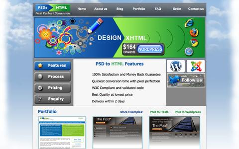 Screenshot of Home Page psdstohtml.com - PSDs to HTML  Markup Service – to convert PSD to XHTML, HTML5, Wordpress Themes, Joomla, Mobile themes, Custom PHP applications - captured Sept. 26, 2014