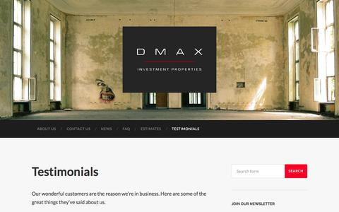 Screenshot of Testimonials Page dmaxp.com - Testimonials – DMAX Properties - captured Oct. 16, 2016