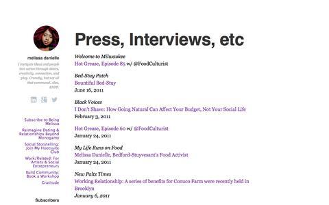 Screenshot of Press Page melissadanielle.com - Press, Interviews, etc | melissa danielle - captured Oct. 2, 2014