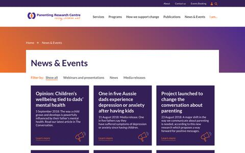 Screenshot of Press Page parentingrc.org.au - News & Events | Parenting Research Centre - captured Sept. 26, 2018