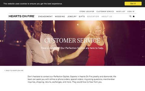 Screenshot of Support Page heartsonfire.com - Customer Service - captured Aug. 17, 2019