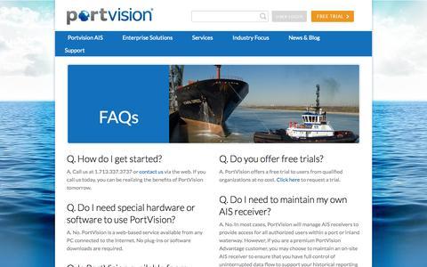Screenshot of FAQ Page portvision.com - FAQ - Portvision - captured Sept. 30, 2014