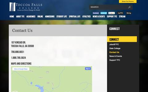Screenshot of Contact Page tfc.edu - Contact Us | Toccoa Falls College - captured Oct. 6, 2014