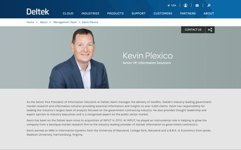 Screenshot of Team Page deltek.com - Kevin Plexico | Management Team | Deltek - captured April 19, 2019