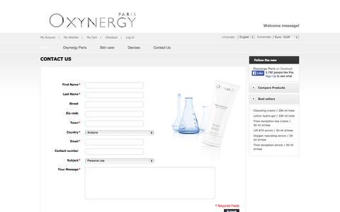Screenshot of Contact Page oxynergy.com - Magento Commerce - captured Nov. 5, 2014