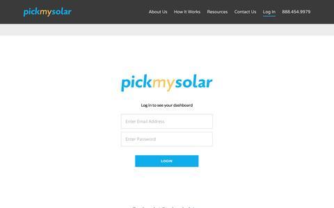 Screenshot of Login Page pickmysolar.com - Login Page   Pick My Solar - captured May 25, 2017