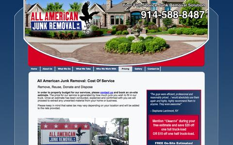 Screenshot of Pricing Page allamericanjunk.com - Furniture Removal Westchester, NY -  All American Junk Removal - captured Oct. 4, 2014