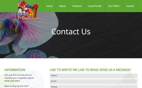 Screenshot of Contact Page fullpot.com - Contact - Full Pot of Flowers - captured Nov. 25, 2016