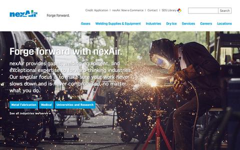 Screenshot of Home Page nexair.com - Industrial Gases, Gas Supply Systems and Welding Equipment – nexAir - captured Oct. 18, 2018