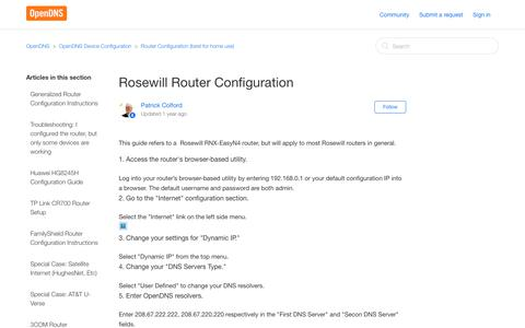Screenshot of Support Page opendns.com - Rosewill Router Configuration – OpenDNS - captured Sept. 25, 2017