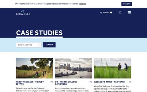 Screenshot of Case Studies Page bidwells.co.uk - Case Studies | Bidwells - Well informed - captured July 29, 2016