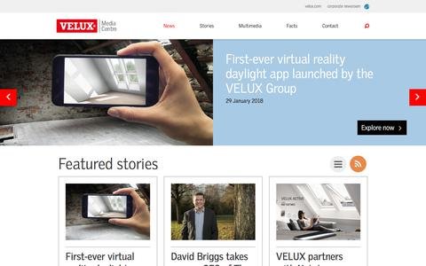 Screenshot of Press Page velux.com - News and press releases - VELUX Media Centre | VELUX Group - captured March 4, 2018