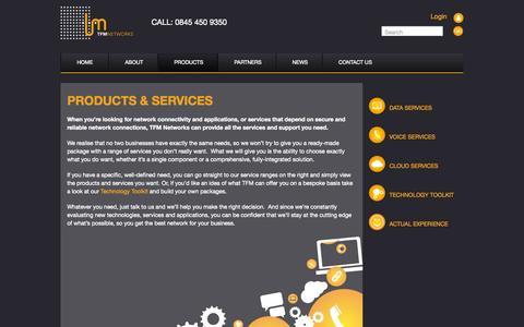 Screenshot of Products Page tfmnetworks.com - Products & Services - TFM Networks - captured Oct. 7, 2014