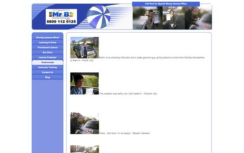 Screenshot of Testimonials Page mrb-drivingschool.co.uk - Testimonials - Driving Lessons Wirral - Wirral Driving School. Call 0800 112 0125 NOW - captured Oct. 26, 2014