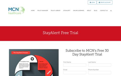 Screenshot of Trial Page mcnhealthcare.com - Stay Alert Free Trial - MCN Healthcare - captured Dec. 3, 2016