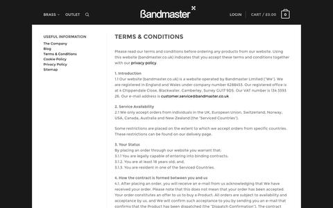 Screenshot of Terms Page bandmaster.co.uk - Bandmaster | Music shop for trumpet straight mute - captured Oct. 5, 2014