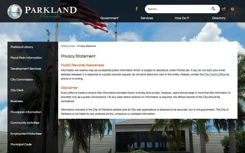 Screenshot of Privacy Page cityofparkland.org - Privacy Statement   Parkland, FL - captured May 17, 2017