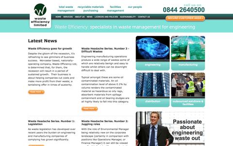 Screenshot of Press Page wasteefficiency.co.uk - Latest News | / | Waste Efficiency – specialists in waste management for engineering - captured Oct. 7, 2014