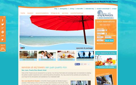 Screenshot of Services Page esjtowers.com - Deluxe Services at Our Puerto Rico Resort- ESJ Towers - captured Sept. 26, 2014