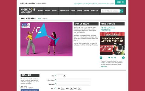 Screenshot of Signup Page highcrossleicester.com - Highcross Shopping Centre Leicester - Register - captured Sept. 30, 2014