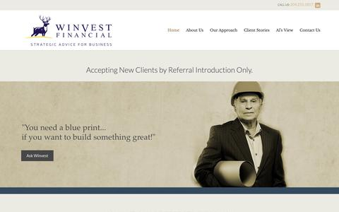 Screenshot of Home Page winvestfinancial.com - Winvest - captured Oct. 20, 2018